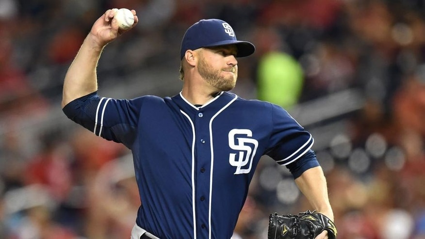 WASHINGTON, DC - AUGUST 26: Shawn Kelley #56 of the San Diego Padres pitches during a baseball game against the Washington Nationals at Nationals Park on August 26, 2015 in Washington, DC. The Padres won 6-5. (Photo by Mitchell Layton/Getty Images)