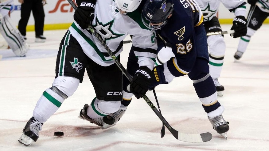 Dallas Stars' Cody Eakin, left, and St. Louis Blues' Paul Stastny keep watch over a loose puck during the second period of an NHL hockey game Saturday, Dec. 12, 2015, in St. Louis. (AP Photo/Jeff Roberson)