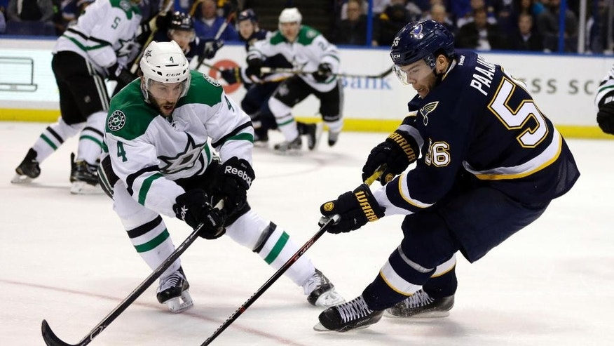 Dallas Stars' Jason Demers, left, and St. Louis Blues' Magnus Paajarvi, of Sweden, chase after the puck during the second period of an NHL hockey game Saturday, Dec. 12, 2015, in St. Louis. (AP Photo/Jeff Roberson)