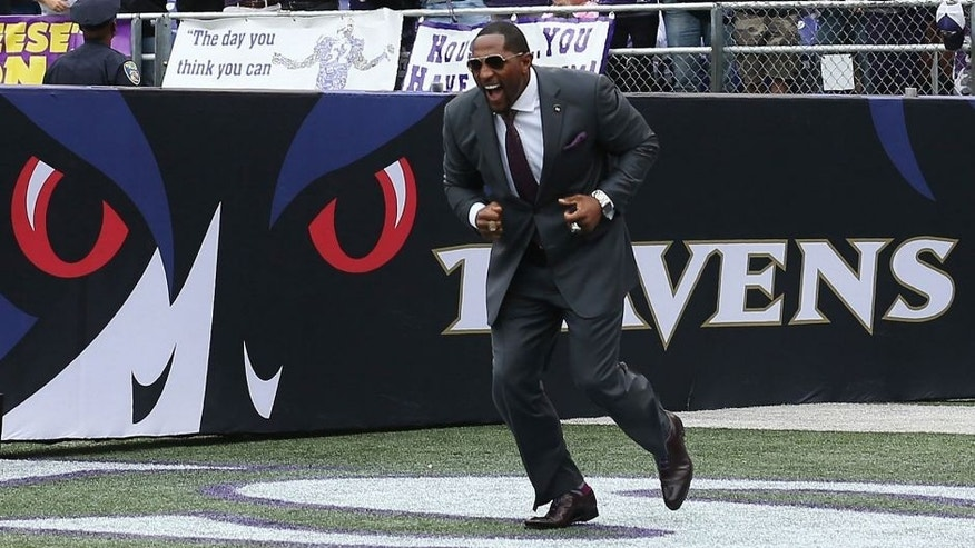 BALTIMORE, MD - SEPTEMBER 22: Former Baltimore Ravens player Ray Lewis takes the field before the start of the Ravens and Houston Texans game at M&T Bank Stadium on September 22, 2013 in Baltimore, Maryland. (Photo by Rob Carr/Getty Images)