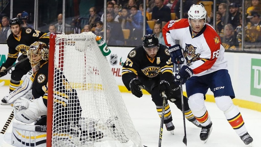 Florida Panthers' Jaromir Jagr (68) handles the puck behind the net as Boston Bruins' Patrice Bergeron (37) defends during the first period of an NHL hockey game in Boston, Saturday, Dec. 12, 2015. (AP Photo/Michael Dwyer)