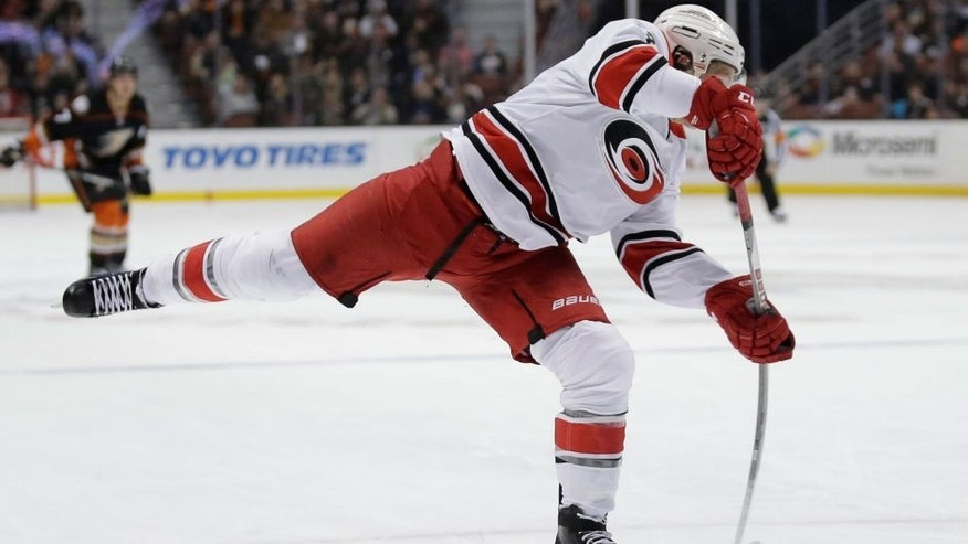 Carolina Hurricanes left wing Jeff Skinner scores against the Anaheim Ducks during the first period of an NHL hockey game in Anaheim, Calif., Friday, Dec. 11, 2015. (AP Photo/Chris Carlson)