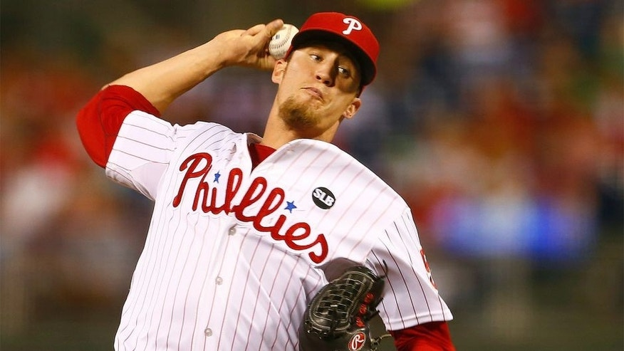 PHILADELPHIA, PA - AUGUST 29: Closer Ken Giles #53 of the Philadelphia Phillies delivers a pitch against the San Diego Padres during the ninth inning of a MLB game at Citizens Bank Park on August 29, 2015 in Philadelphia, Pennsylvania. The Phillies defeated the Padres 4-3. (Photo by Rich Schultz/Getty Images)