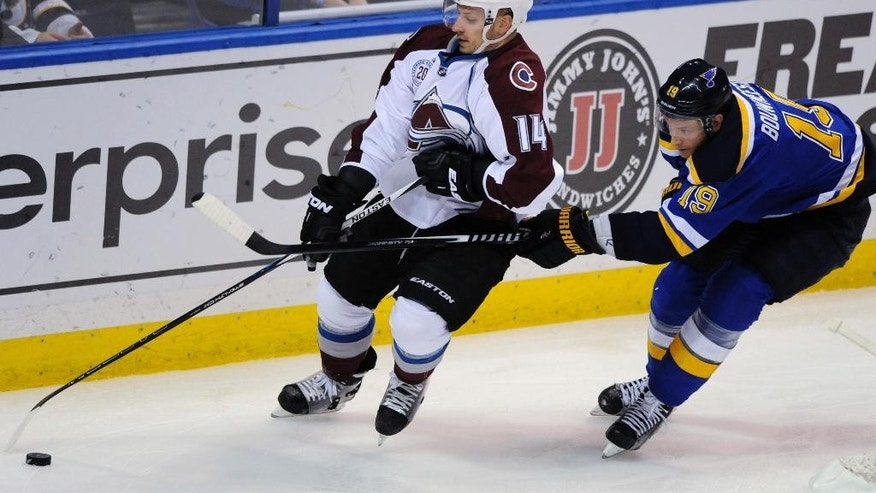 St. Louis Blues' Jay Bouwmeester (19) reaches for the puck with Colorado Avalanche's Blake Comeau (14) during the second period of an NHL hockey game, Sunday, Dec. 13, 2015, in St. Louis. (AP Photo/Bill Boyce)