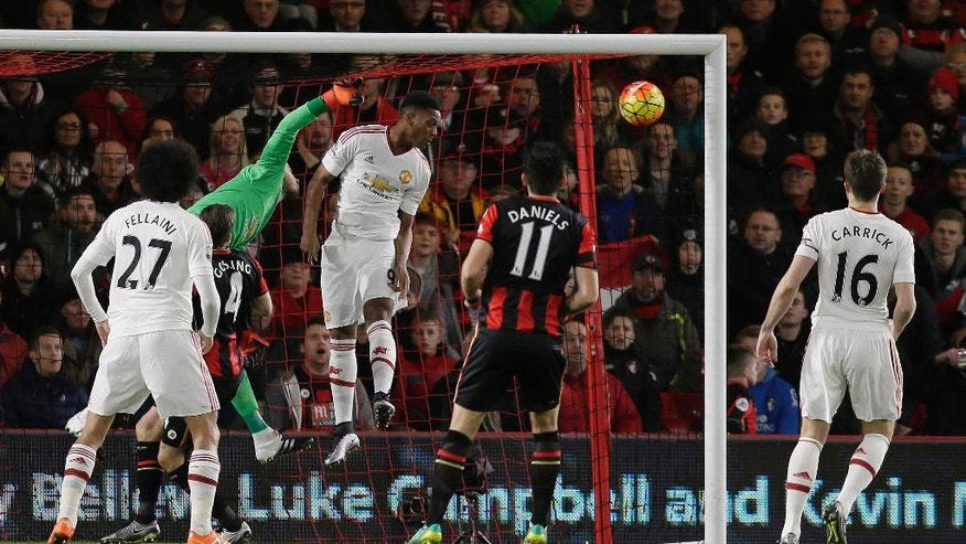 Bournemouth's Junior Stanislas' corner goes straight in for a goal during the English Premier League soccer match between Bournemouth and Manchester United at the Vitality Stadium in Bournemouth, England, Saturday Dec. 12, 2015. (AP Photo/Tim Ireland)