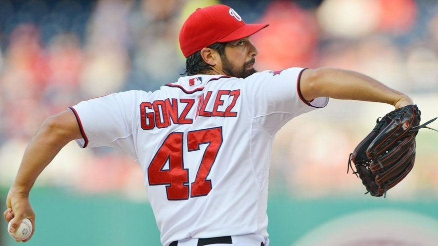 Jul 20, 2015; Washington, DC, USA; Washington Nationals starting pitcher Gio Gonzalez (47) pitches during the first inning against the New York Mets at Nationals Park. Mandatory Credit: Tommy Gilligan-USA TODAY Sports
