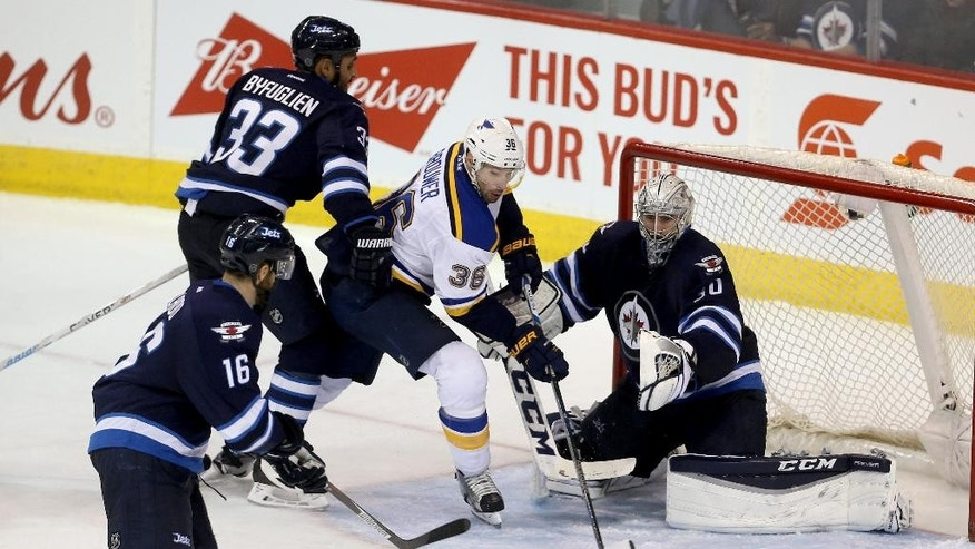 Winnipeg Jets' Dustin Byfuglien (33) and goalie Connor Hellebuyck (30) work to stop St. Louis Blues' Troy Brouwer (36) during the third period of an NHL hockey game Tuesday, Dec. 15, 2015, in Winnipeg, Manitoba. (Trevor Hagan/The Canadian Press via AP)