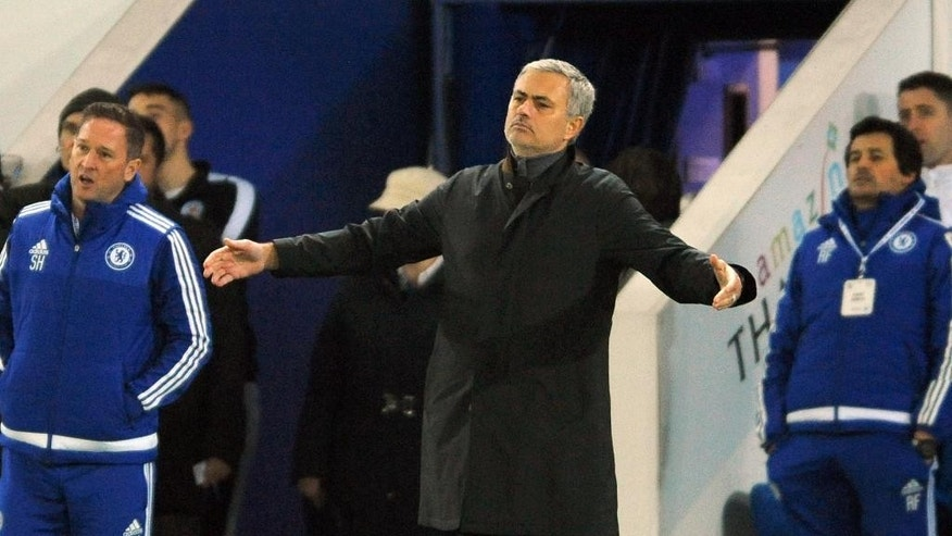 Chelsea manager Jose Mourinho reacts during the English Premier League soccer match between Leicester City and Chelsea at the King Power Stadium in Leicester, England, Monday, Dec. 14, 2015. Leicester won the match 2-1. (AP Photo/Rui Vieira)