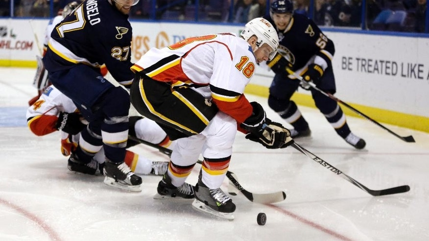 Calgary Flames' Matt Stajan (18) and St. Louis Blues' Alex Pietrangelo (27) watch a loose puck during the second period of an NHL hockey game Saturday, Dec. 19, 2015, in St. Louis. (AP Photo/Jeff Roberson)