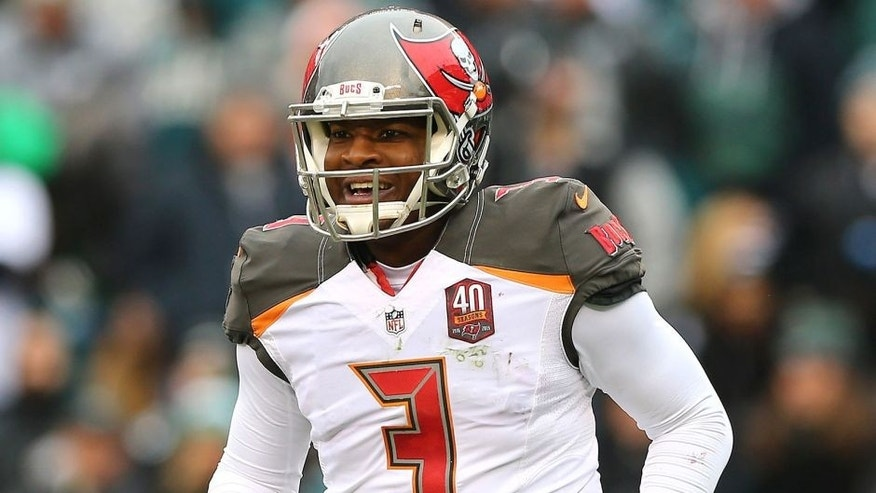 PHILADELPHIA, PA - NOVEMBER 22: Quarterback Jameis Winston #3 of the Tampa Bay Buccaneers celebrates a second quarter touchdown by teammate Russell Shepard #89 (not pictured) against the Philadelphia Eagles at Lincoln Financial Field on November 22, 2015 in Philadelphia, Pennsylvania. (Photo by Elsa/Getty Images)