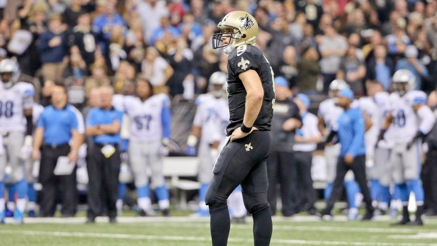 Dec 21, 2015; New Orleans, LA, USA; New Orleans Saints quarterback Drew Brees (9) against the Detroit Lions during the second quarter a game at the Mercedes-Benz Superdome. Mandatory Credit: Derick E. Hingle-USA TODAY Sports