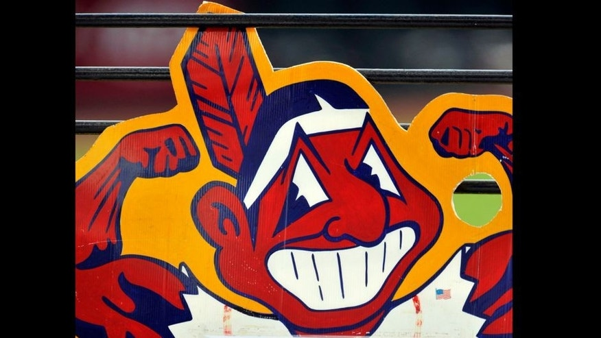 May 8, 2014; Cleveland, OH, USA; General view of a sign featuring Chief Wahoo during a game between the Cleveland Indians and the Minnesota Twins at Progressive Field. Mandatory Credit: David Richard-USA TODAY Sports