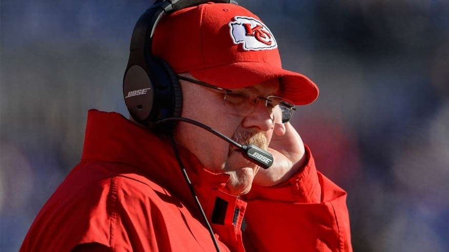 Dec 20, 2015; Baltimore, MD, USA; Kansas City Chiefs head coach Andy Reid stands on the sidelines during the first quarter against the Baltimore Ravens at M&T Bank Stadium. Mandatory Credit: Tommy Gilligan-USA TODAY Sports