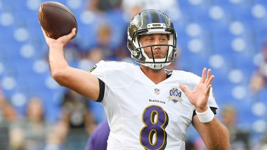 Aug 13, 2015; Baltimore, MD, USA; Baltimore Ravens quarterback Matt Schaub (8) throws before the preseason NFL football game against the New Orleans Saints at M&T Bank Stadium. Mandatory Credit: Tommy Gilligan-USA TODAY Sports