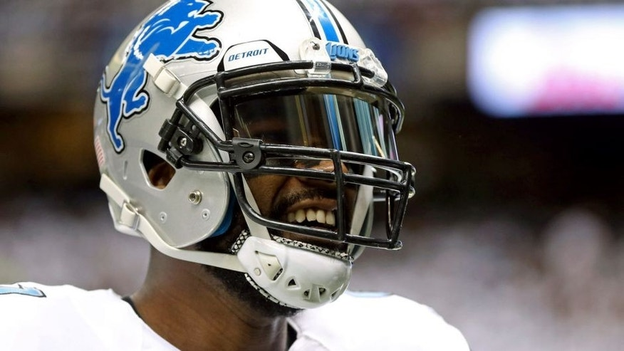 Dec 21, 2015; New Orleans, LA, USA; Detroit Lions wide receiver Calvin Johnson (81) before the game against the New Orleans Saints at the Mercedes-Benz Superdome. Mandatory Credit: Chuck Cook-USA TODAY Sports