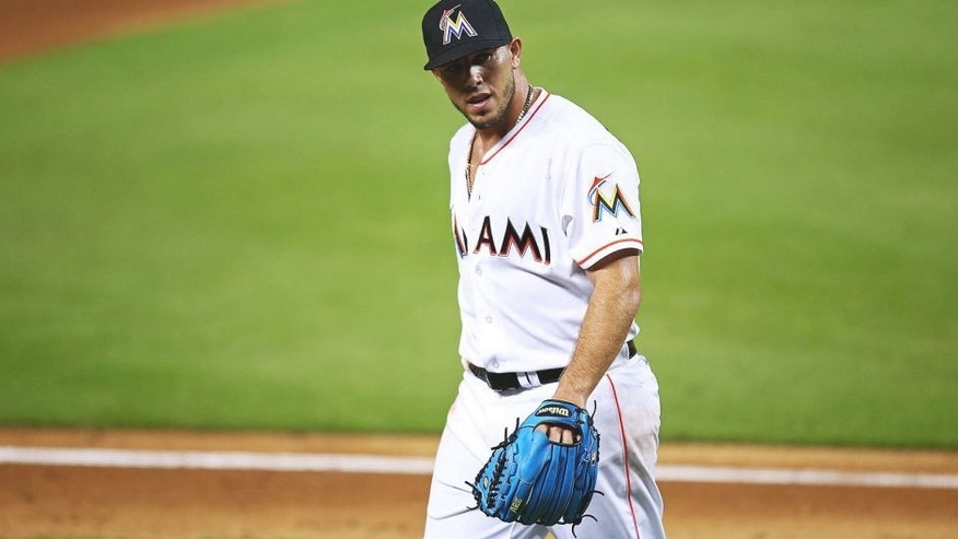 MIAMI, FL - SEPTEMBER 25: Jose Fernandez #16 of the Miami Marlins walks off the field during the game at Marlins Park on September 25, 2015 in Miami, Florida. Fernandez is trying to improve to 17-0 at home, a Major League record. (Photo by Rob Foldy/Getty Images)