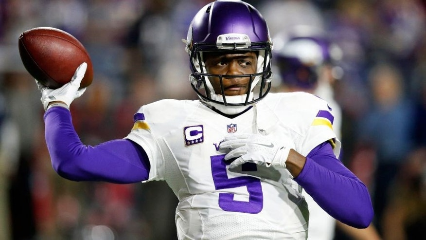 Vikings quarterback Teddy Bridgewater (5) warms up prior to an NFL football game against the Arizona Cardinals, Thursday, Dec. 10, 2015, in Glendale, Ariz.