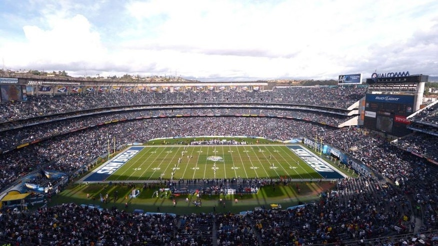 Dec 30, 2012; San Diego, CA, USA; General view of Qualcomm Stadium during the opening kickoff of the NFL game between the Oakland Raiders and the San Diego Chargers. The Chargers defeated the Raiders 24-21. Mandatory Credit: Kirby Lee/Image of Sport-USA TODAY Sports