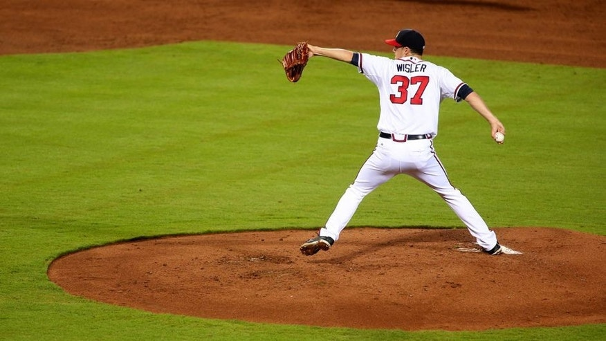Sep 29, 2015; Atlanta, GA, USA; Atlanta Braves starting pitcher Matt Wisler (37) delivers a pitch to a Washington Nationals batter in the second inning of their game at Turner Field. Mandatory Credit: Jason Getz-USA TODAY Sports