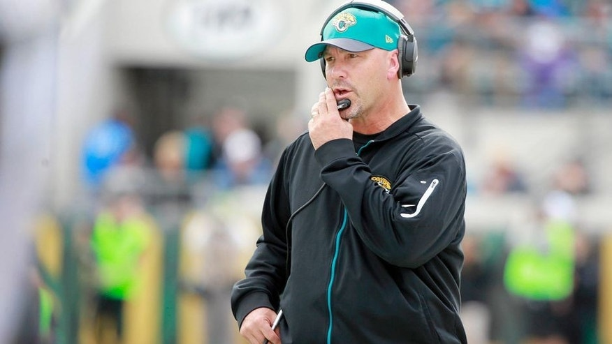 Dec 20, 2015; Jacksonville, FL, USA; Jacksonville Jaguars head coach Gus Bradley during the first half against the Atlanta Falcons at EverBank Field. Mandatory Credit: Kim Klement-USA TODAY Sports