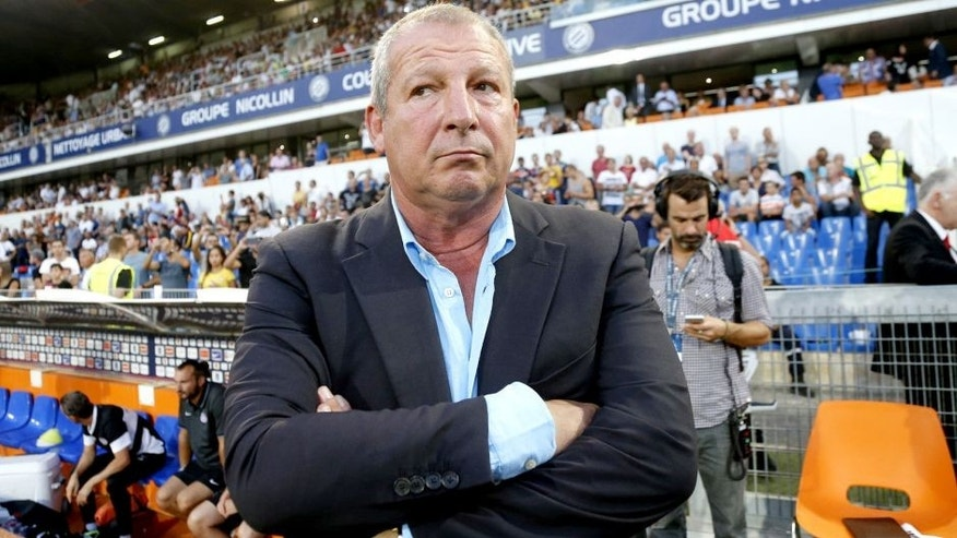 MONTPELLIER - AUGUST 21: Head coach of Montpellier Rolland Courbis looks on during the French Ligue 1 match between Montpellier Herault SC (MHSC) v Paris Saint-Germain (PSG) at Stade de la Mosson on August 21, 2015 in Montpellier, France. (Photo by Jean Catuffe/Getty Images)