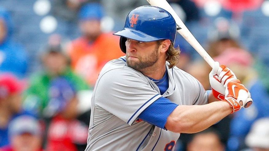 PHILADELPHIA, PA - October 1: Kirk Nieuwenhuis #9 of the New York Mets in action during an MLB game against the Philadelphia Phillies at Citizens Bank Park on October 1, 2015 in Philadelphia, Pennsylvania. The Phillies defeated the Mets 3-0. (Photo by Rich Schultz/Getty Images)