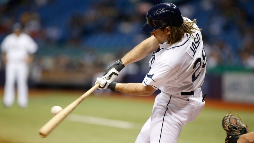 ST. PETERSBURG, FL - OCTOBER 1: John Jaso #28 of the Tampa Bay Rays hits a single to right field off of pitcher Jose Fernandez #16 of the Miami Marlins during the third inning of a game on October 1, 2015 at Tropicana Field in St. Petersburg, Florida. (Photo by Brian Blanco/Getty Images)