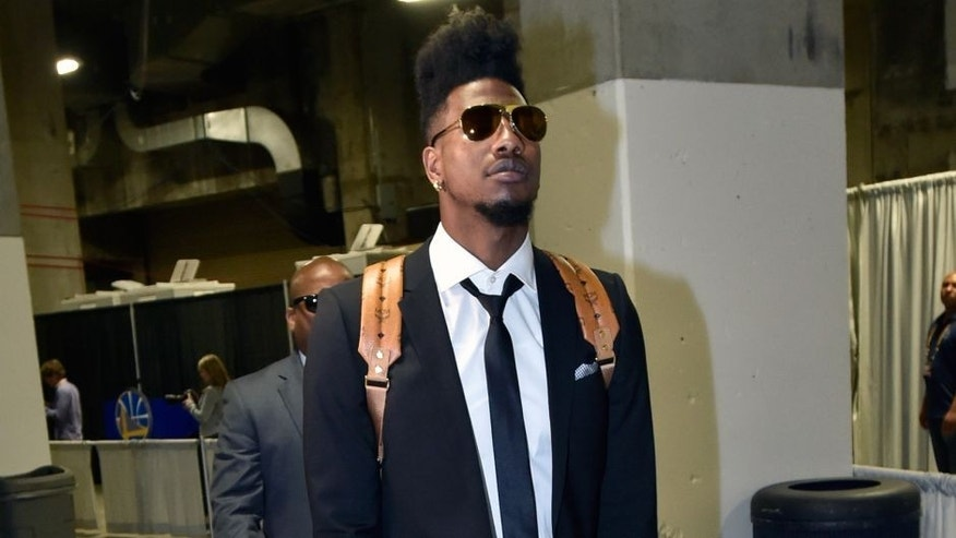 OAKLAND, CA - JUNE 4: Iman Shumpert #4 of the Cleveland Cavaliers arrives for Game One of the 2015 NBA Finals on June 4, 2015 at Oracle Arena in Oakland, California. NOTE TO USER: User expressly acknowledges and agrees that, by downloading and or using this photograph, user is consenting to the terms and conditions of Getty Images License Agreement. Mandatory Copyright Notice: Copyright 2015 NBAE (Photo by Andrew D. Bernstein/NBAE via Getty Images)