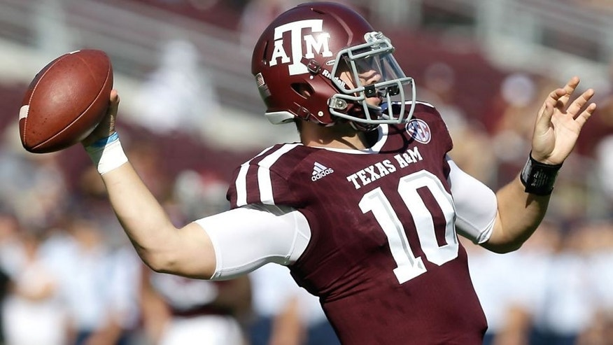 COLLEGE STATION, TX - SEPTEMBER 19: Kyle Allen #10 of the Texas A&M Aggies during pre-game warmups bdfore playing Nevada Wolf Pack at Kyle Field on September 19, 2015 in College Station, Texas. (Photo by Bob Levey/Getty Images)