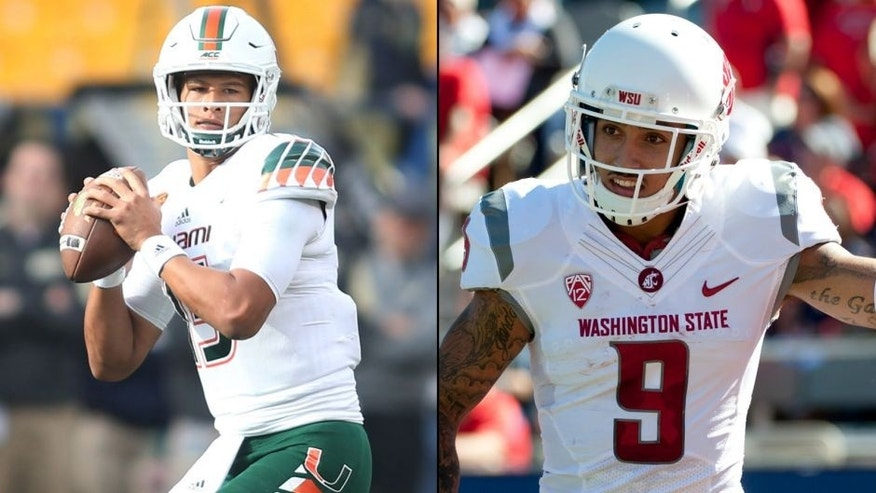 <p>Brad Kaaya and Gabe Marks.<br> </p>