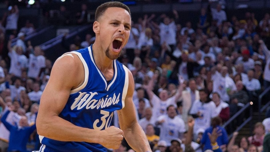 <p>December 25, 2015; Oakland, CA, USA; Golden State Warriors guard Stephen Curry (30) celebrates in the third quarter of a NBA basketball game on Christmas against the Cleveland Cavaliers at Oracle Arena. The Warriors defeated the Cavaliers 89-83. Mandatory Credit: Kyle Terada-USA TODAY Sports</p>