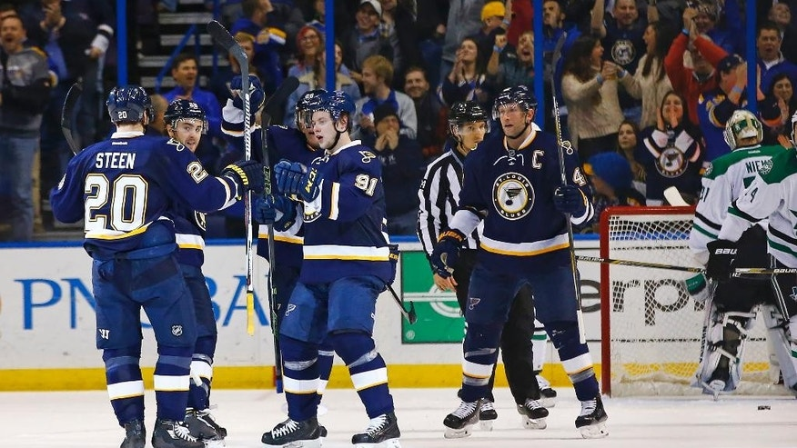 St. Louis Blues' Alexander Steen celebrates with teammates after scoring a goal against Dallas Stars goalie Antti Niemi during the second period of an NHL hockey game Saturday, Dec. 26, 2015, in St. Louis. (AP Photo/Billy Hurst)