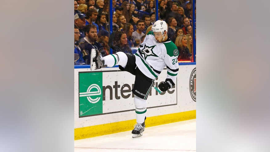 Dallas Stars' Colton Sceviour celebrates after scoring a goal against St. Louis Blues goalie Jake Allen during the second period of an NHL hockey game Saturday, Dec. 26, 2015, in St. Louis. (AP Photo/Billy Hurst)