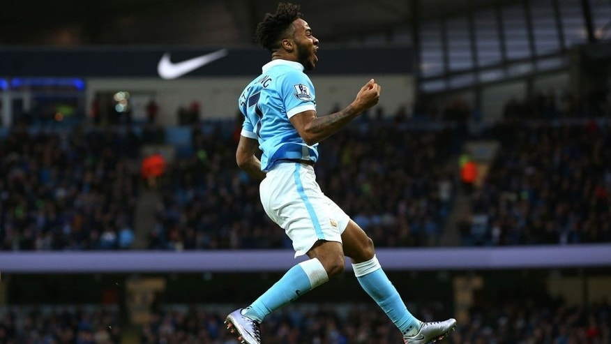 MANCHESTER, ENGLAND - DECEMBER 26: Raheem Sterling of Manchester City celebrates after scoring the opening goal with a header during the Barclays Premier League match between Manchester City and Sunderland at the Etihad Stadium on December 26, 2015 in Manchester, England. (Photo by Alex Livesey/Getty Images)