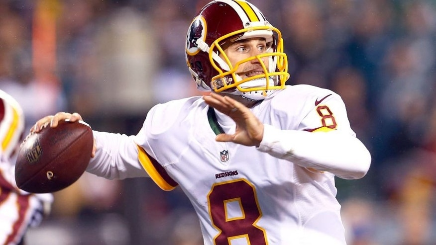 PHILADELPHIA, PA - DECEMBER 26: Quarterback Kirk Cousins #8 of the Washington Redskins looks to pass against the Philadelphia Eagles in the second quarter of a football game at Lincoln Financial Field on December 26, 2015 in Philadelphia, Pennsylvania. (Photo by Rich Schultz /Getty Images)