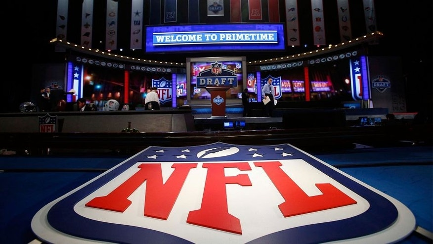 Apr 25, 2013; New York, NY, USA; A general view of the NFL shield logo and main stage before the 2013 NFL Draft at Radio City Music Hall. Mandatory Credit: Jerry Lai-USA TODAY Sports