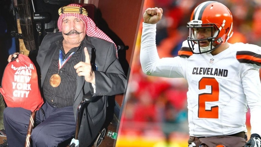 NEW YORK, NY - OCTOBER 29: The Iron Sheik attends Riff Raff in Concert at Webster Hall on October 29, 2014 in New York City. (Photo by Johnny Nunez/WireImage) KANSAS CITY, MO - DECEMBER 27: Johnny Manziel #2 of the Cleveland Browns pumps his fist after a touchdown rush by Isaiah Crowell at Arrowhead Stadium during the third quarter of the game against the Kansas City Chiefs on December 27, 2015 in Kansas City, Missouri. (Photo by Jamie Squire/Getty Images)