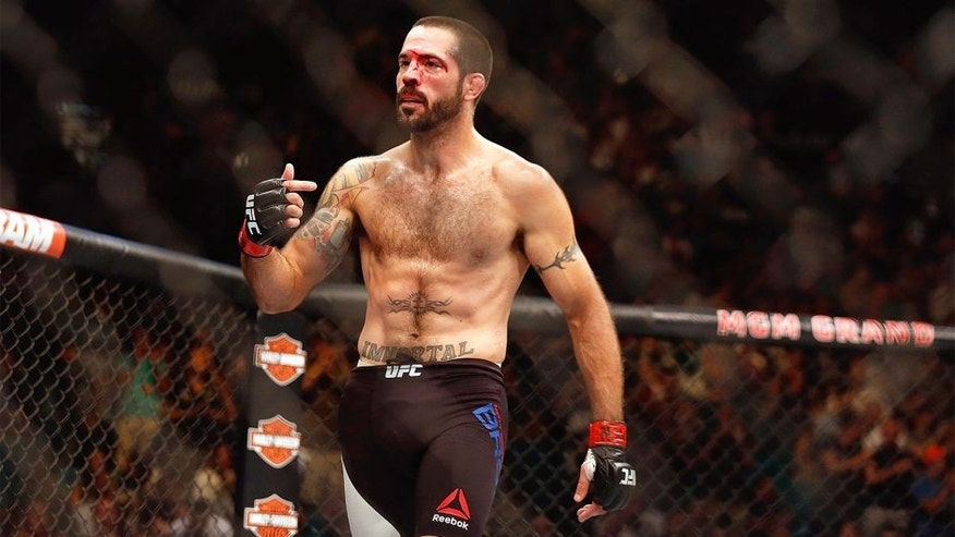 LAS VEGAS, NV - JULY 11: Matt Brown reacts to his victory over Tim Means in their welterweight fight during the UFC 189 event inside MGM Grand Garden Arena on July 11, 2015 in Las Vegas, Nevada. (Photo by Christian Petersen/Zuffa LLC/Zuffa LLC via Getty Images)