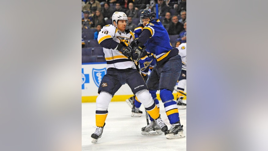 Nashville Predators' Calle Jarnkrok (19), left, of Sweden, tangles with St. Louis Blues' Kyle Brodziak, right, during the first period of an NHL hockey game, Tuesday, Dec. 29, 2015, in St. Louis. (AP Photo/Bill Boyce)