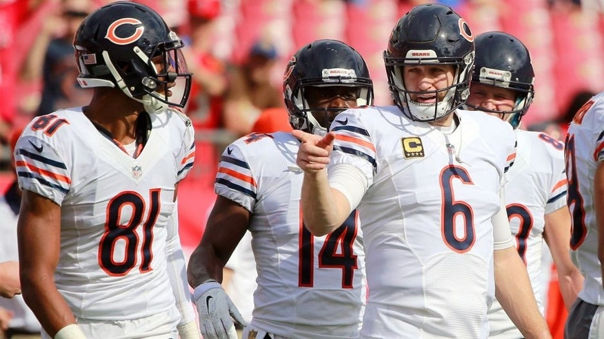 Dec 27, 2015; Tampa, FL, USA;Chicago Bears quarterback Jay Cutler (6) points works out prior to the game against the Tampa Bay Buccaneers at Raymond James Stadium. Mandatory Credit: Kim Klement-USA TODAY Sports