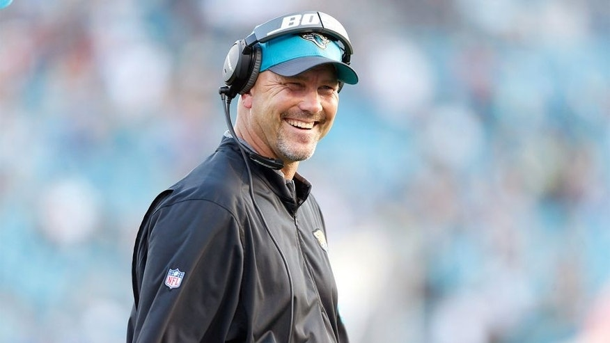 Dec 13, 2015; Jacksonville, FL, USA; Jacksonville Jaguars head coach Gus Bradley smiles against the Indianapolis Colts in the fourth quarter at EverBank Field. The Jaguars won 51-16. Mandatory Credit: Jim Steve-USA TODAY Sports