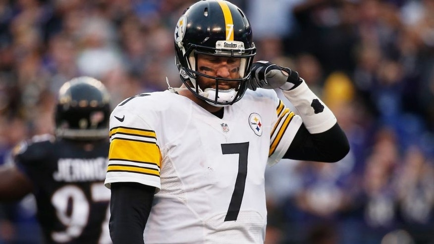 BALTIMORE, MD - DECEMBER 27: Ben Roethlisberger #7 of the Pittsburgh Steelers looks on during the fourth quarter against the Baltimore Ravens at M&T Bank Stadium on December 27, 2015 in Baltimore, Maryland. (Photo by Rob Carr/Getty Images)