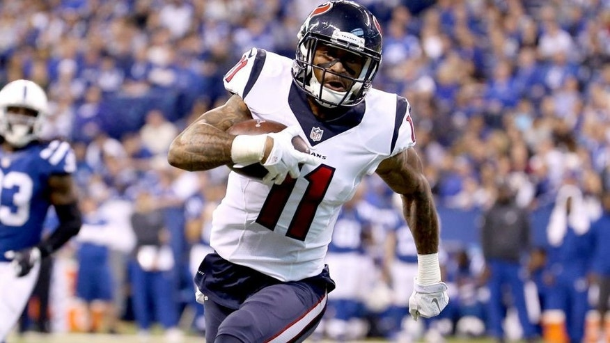 INDIANAPOLIS, IN - DECEMBER 20: Jaelen Strong #11 of the Houston Texans runs for the game winning touchdown against the Indianapolis Colts at Lucas Oil Stadium on December 20, 2015 in Indianapolis, Indiana. (Photo by Andy Lyons/Getty Images)