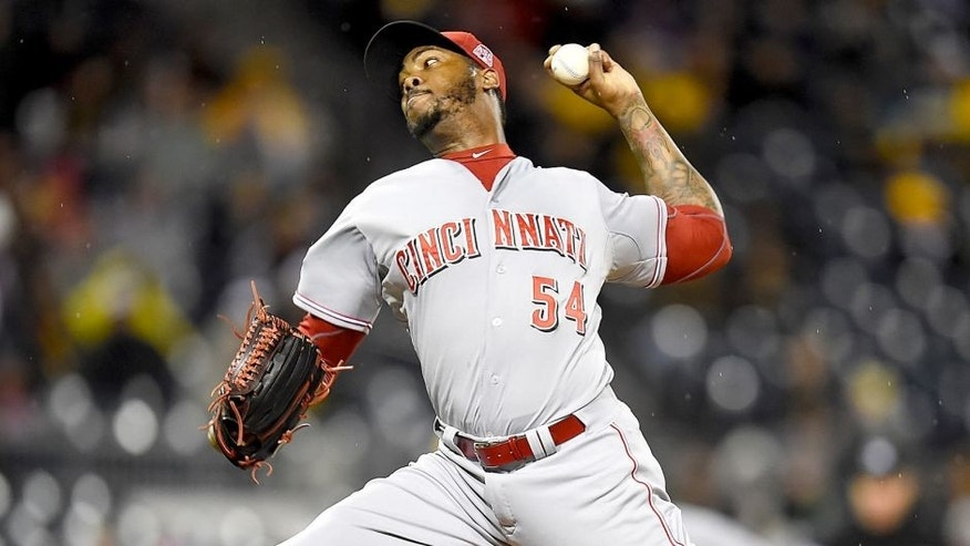 PITTSBURGH, PA - OCTOBER 2: Aroldis Chapman #54 of the Cincinnati Reds pitches against the Pittsburgh Pirates on October 2, 2015 at PNC Park in Pittsburgh, Pennsylvania. (Photo by Joe Sargent/Getty Images)