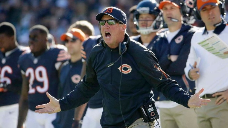 Chicago Bears head coach John Fox yells from the sideline during the first half of an NFL football game against the Minnesota Vikings on Sunday, Nov. 1, 2015, in Chicago.