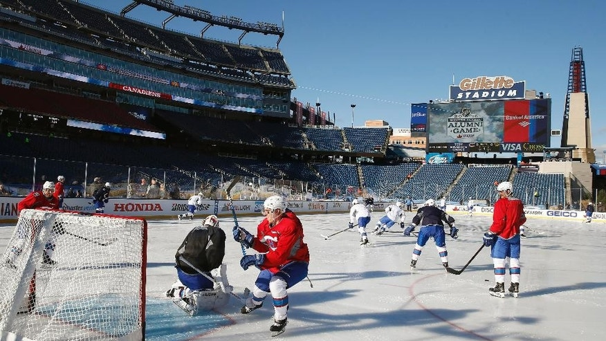The Montreal Canadiens practice on the outdoor rink at Gillette Stadium in Foxborough, Mass., Thursday, Dec. 31, 2015, where they will play the Boston Bruins in the NHL Winter Classic hockey game on New Year's Day. (AP Photo/Michael Dwyer)