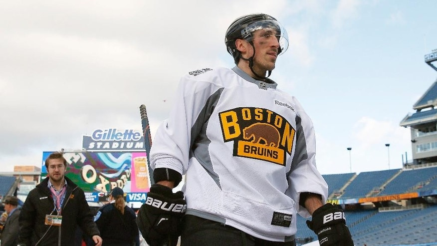 Boston Bruins' Brad Marchand walks off the ice after practice on the outdoor rink at Gillette Stadium in Foxborough, Mass., Thursday, Dec. 31, 2015, where the Bruins will play the Montreal Canadiens in the NHL Winter Classic hockey game on New Year's Day. Marchand was suspended for three games for a clipping incident on Dec. 29 and will not play in the game. (AP Photo/Michael Dwyer)