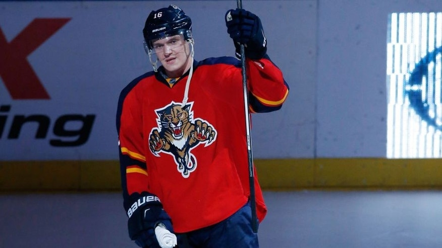 Dec 29, 2015; Sunrise, FL, USA; Florida Panthers center Aleksander Barkov is first star of the game as the Panthers defeated the Montreal Canadiens 3-1 at BB&T Center. The Panthers won 3-1. Mandatory Credit: Robert Mayer-USA TODAY Sports