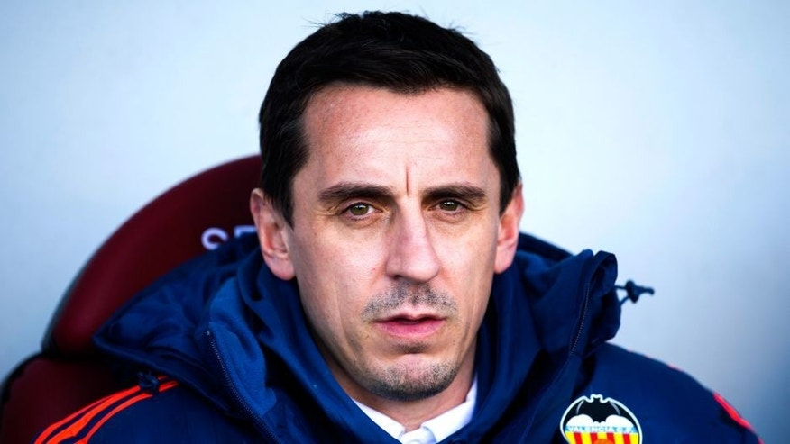 EIBAR, SPAIN - DECEMBER 13: Head coach Gary Neville of Valencia CF looks on prior to the start the la Liga match between SD Eibar and Valencia CF at Ipurua Municipal Stadium on December 13, 2015 in Eibar, Spain. (Photo by Juan Manuel Serrano Arce/Getty Images)