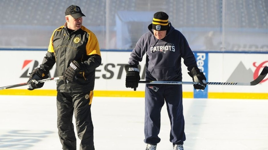 BOSTON, MA - DECEMBER 31 : New England Patriots head coach Bill Belichick and Boston Bruins head coach Claude Julien enjoy Practice Day on December 31, 2015 during 2016 Bridgestone NHL Winter Classic at Gillette Stadium in Foxboro, Massachusetts. (Photo by Steve Babineau/NHLI via Getty Images)